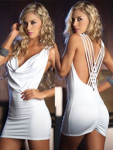 Sexy Open String Back Tank Top White Club Party Mini Dress