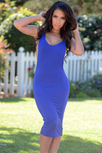 Blue Big Armhole Sleeveless Jersey Dress