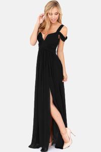 Black Chiffon Jersey Maxi Dress