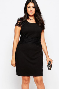Black Lace Cap Sleeve Plus Pencil Dress