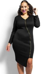Black Sexy Zipped Knee Length Plus Size Dress