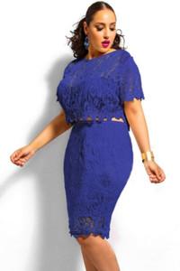 Blue Plus Size Scallop Lace Crop Skirt Set