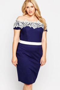 Plus Size Blue Contrast Lace Off Shoulder Pencil Dress