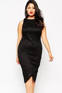 Black Sleeveless High Neck Plus Lace Midi Dress