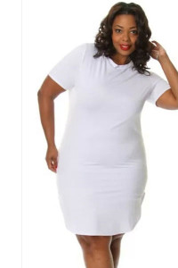 White Plus Size Side Slit Mini T-shirt Dress