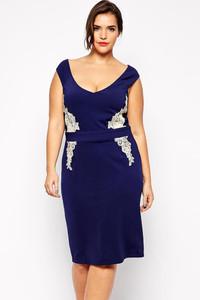 Navy Blue Plus Size Lace Applique Pencil Dress