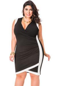 Black Solid Envelope Hem Faux Wrap Plus Size Dress