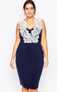 Blue Plus Floral Lace Pencil Dress