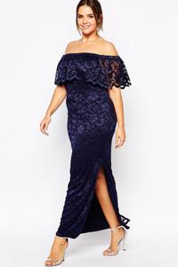 Blue Plus Shelf Bandeau Maxi Dress in Lace