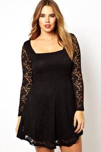 Plus Size Black Lace Overlay Skater Dress