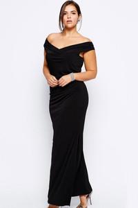 Drop Shoulder Plus Size Black Dress