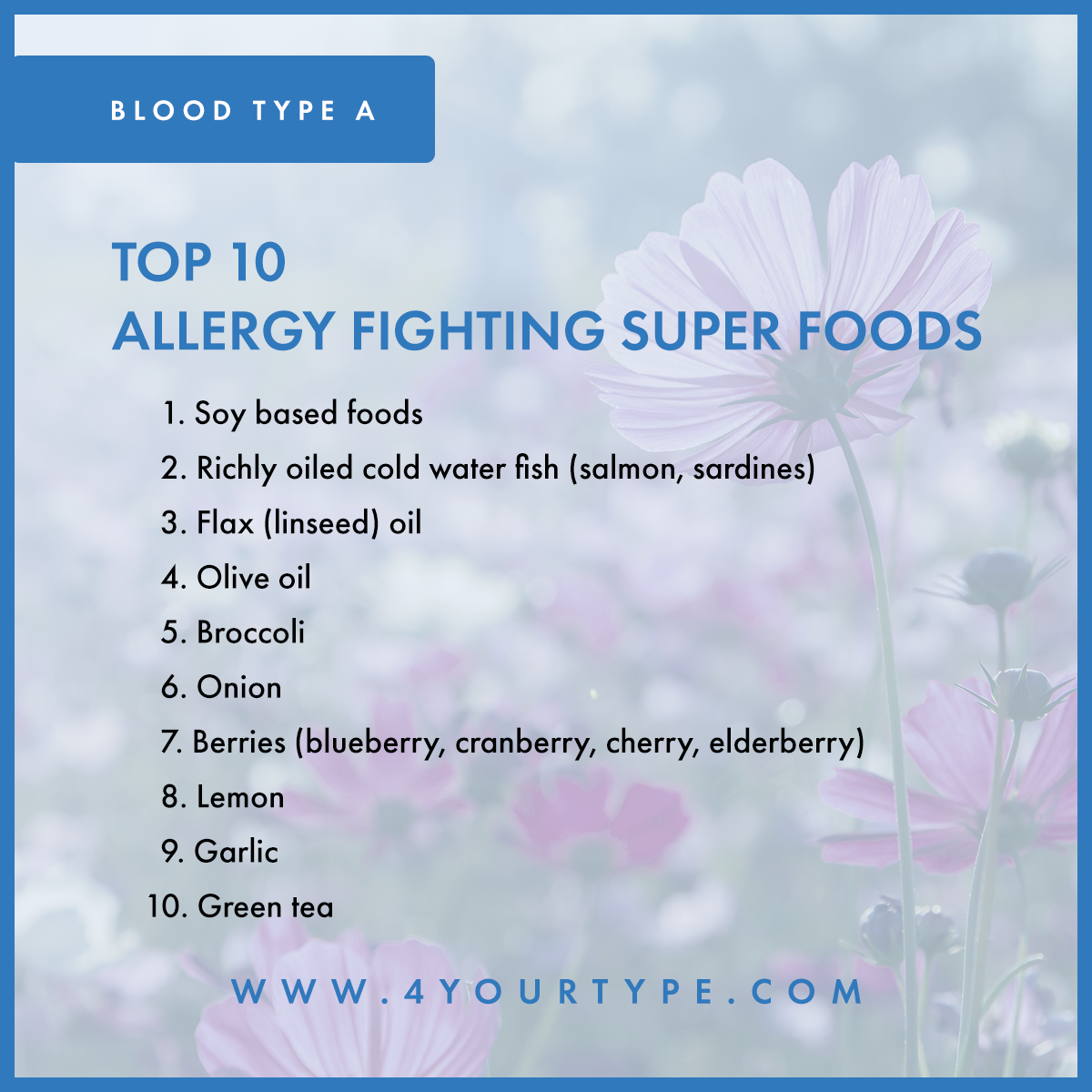Blood Type A - Allergy Fighting Foods