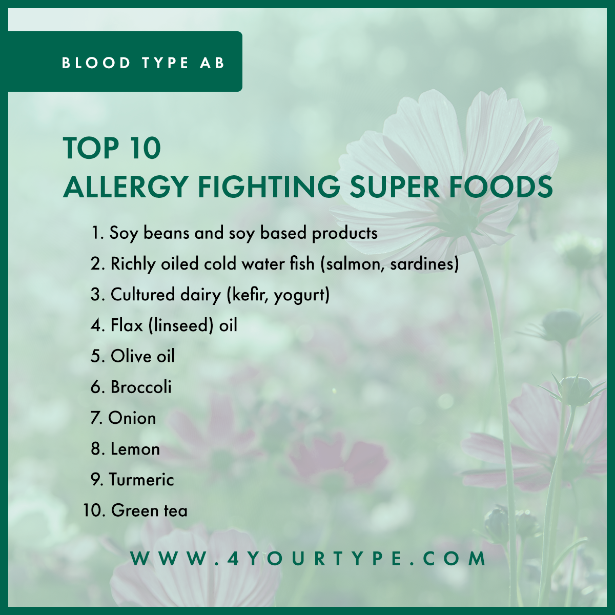 Blood Type AB - Allergy Fighting Foods
