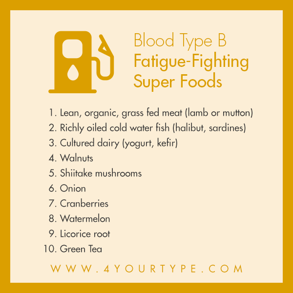 Top 10 Fatigue Fighting Super Foods for Blood Type B