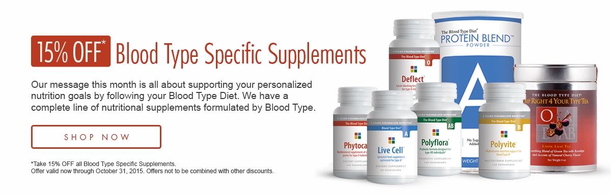 15% OFF Blood Type Specific Supplements