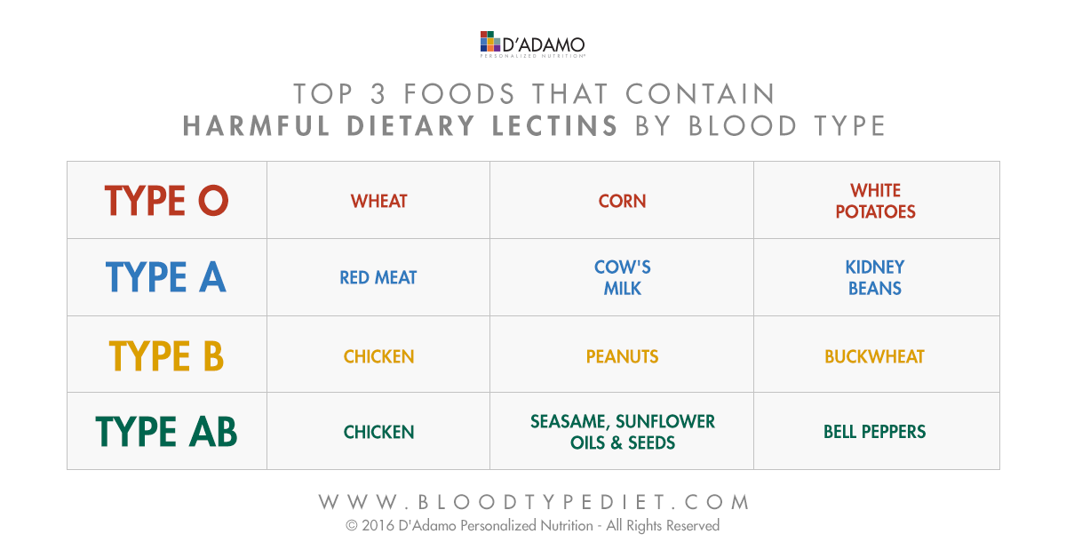 Top 3 foods that contain harmful dietary lectins by blood type