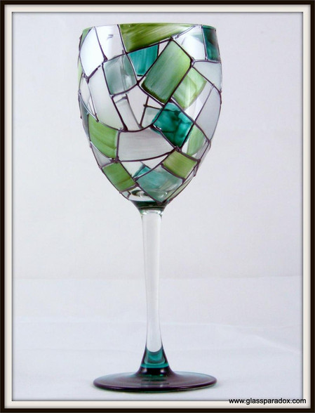 Hand-painted Sea-foam Goblet
