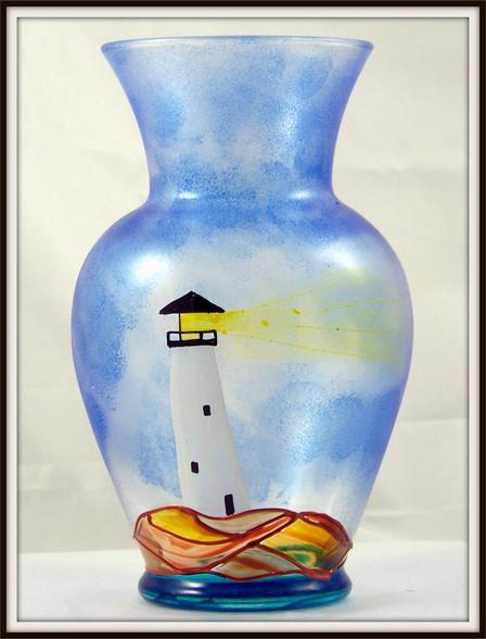 Hand-painted Lighthouse Urn Vase