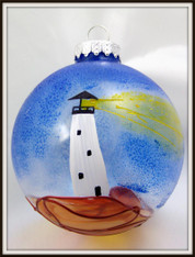 Hand-painted Lighthouse Ornament
