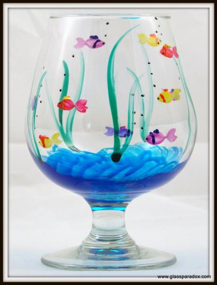 Hand-painted Fish Brandy Glass