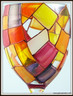 Hand-painted Autumn Wine Glass - magnified view