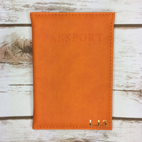 Personalised Orange Passport Cover