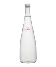 Evian glass water