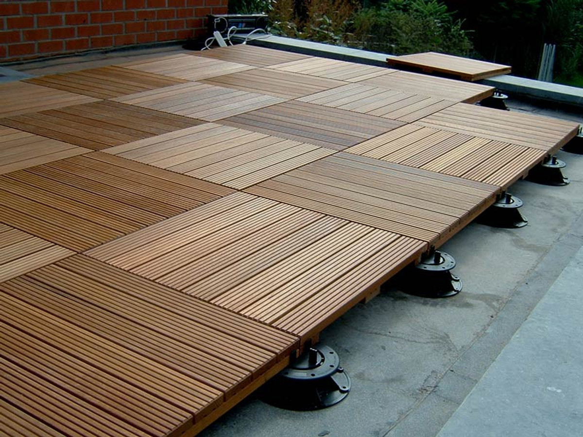 Bison ipe wood deck tiles installs in a breeze for Timber decking thickness