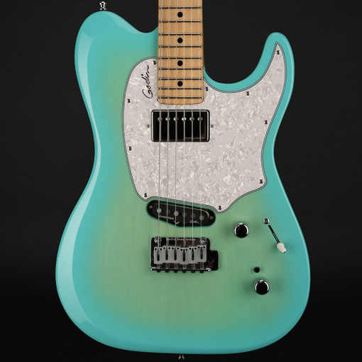godin session custom 59 in coral blue hg limited edition maple fretboard with gigbag b stock. Black Bedroom Furniture Sets. Home Design Ideas