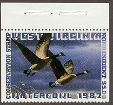 West Virginia Duck Stamp 1987 Canada Geese NR Top stamp with selvage