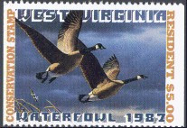 West Virginia Duck Stamp 1987 Canada Geese Resident Hunter
