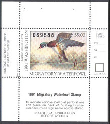 Washington Duck Stamp 1991 Drake Wood Duck (5.00)