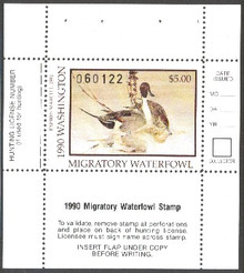 Washington Duck Stamp 1990 Pintails Hunter type