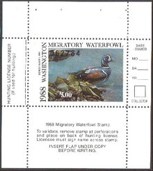 Washington Duck Stamp 1988 Harlequin Duck Hunter type