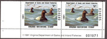Virginia Duck Stamp 1991 Canvasbacks Hunter pair with plate #, selvage on both sides