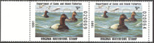 Virginia Duck Stamp 1991 Canvasbacks Hunter pair, selvage on both sides