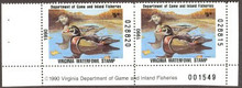 Virginia Duck Stamp 1990 Wood Ducks Hunter pair with plate #, selvage on both sides
