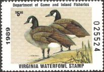 Virginia Duck Stamp 1989 Canada Geese