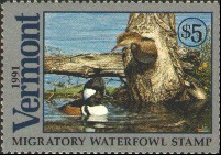 Vermont Duck Stamp 1991 Hooded Mergansers
