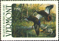 Vermont Duck Stamp 1988 Black Ducks, Spring