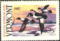 Vermont Duck Stamp 1987 Goldeneyes, Winter