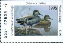 Texas Duck Stamp 1996 Gadwall Single stamp