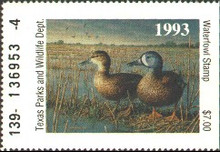 Texas Duck Stamp 1993 Blue - Winged Teal