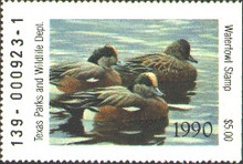 Texas Duck Stamp 1990 American Wigeon