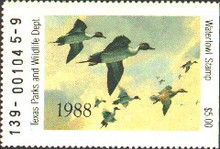 Texas Duck Stamp 1988 Pintails