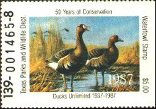 Texas Duck Stamp 1987 White - Fronted Goose