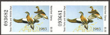 Texas Duck Stamp 1983 American Wigeon Horizontal pair vertical perforated thru near center of one stamp