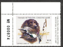 South Carolina Duck Stamp 1988 Wigeon / Boykin Spaniel Extra Fine with Plate Number XF