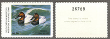 South Carolina Duck Stamp 1986 Canvasbacks Hunter variety with serial # on reverse