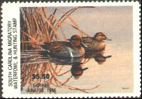 South Carolina Duck Stamp 1985 Green - Winged Teal